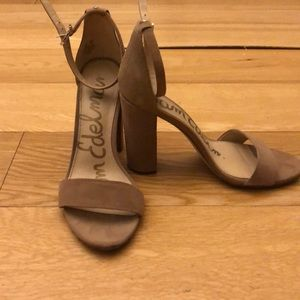 Sam Edelman Nude Suede Yaro Heel Sandals